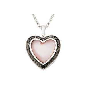 Mother Of Pearl & Black Diamond Sterling Silver Heart Pendant w/ Chain