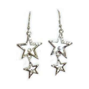 Double Crystal Open Stars Pierced Earrings Jewelry