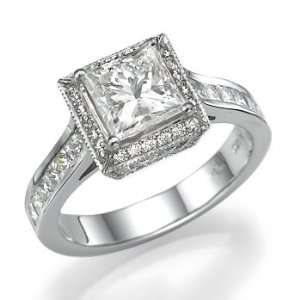 18k White Gold Engagement Ring with Princess Cut Center Stone Jewelry
