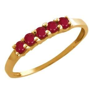 0.60 Ct Round Red Ruby 14k Yellow Gold Ring Jewelry