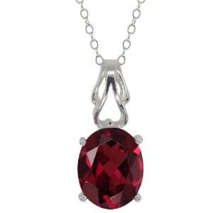 2.00 Ct Oval Red Garnet Sterling Silver Pendant Jewelry