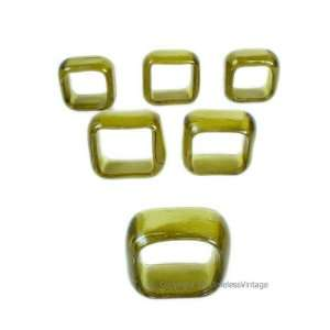 Set 6 Hand Blown Amber Gold Art Glass Napkin Rings
