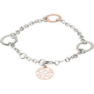 Silver 08.00 Inch Rose Gold Plate Silver Fashion Bracelet Jewelry