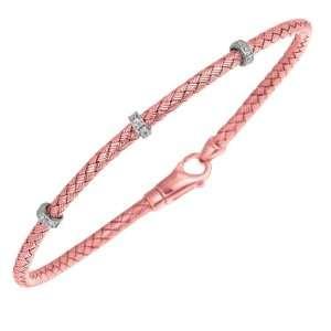 Rhodium 1.75mm Rose Gold Plated Weave Bangle Bracelet   7.25 Inch