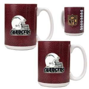 San Diego Chargers NFL 2pc Gameball Ceramic Mug Set   Helmet logo