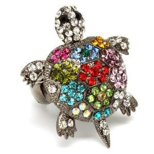 Unique Large Nine Colorful Crystal Covered Turtle Fashion Ring