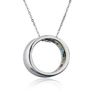 Sterling Silver Multi Gemstone Accent Circle Pendant, 18