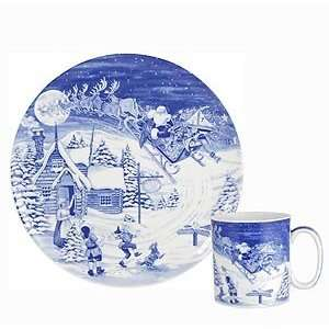 Spode 2008 Blue Room Christmas Plate and Mug set, The Off
