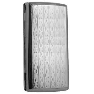Etched Retro Diamond Stainless Steel Cigarette Case 100s