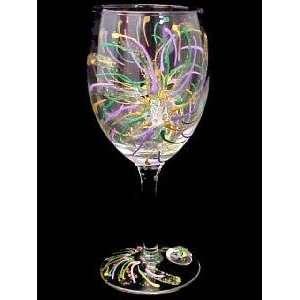 Mardi Gras Fireworks Design   Wine Glass   8 oz