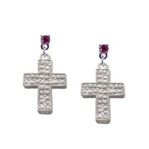 Cross   Faux Stone Look Hot Pink Swarovski Post Charm