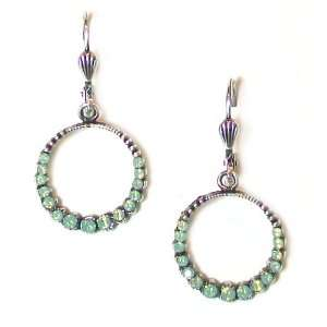 Plated Small Hoop Dangle Earrings with Pacific Opal Swarovski Crystals