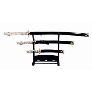 Valor Sword Set (3) Wht Dragonhead Blk Scabbard w/Stand