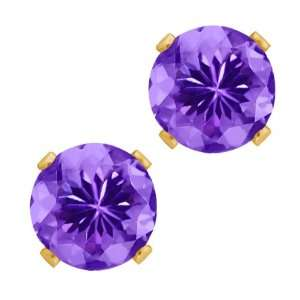 Ct Round Blue Tanzanite Gold Plated Silver 4 prong Stud Earrings 6mm