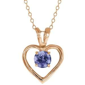 0.90 Ct Round Blue Tanzanite 18k Rose Gold Pendant Jewelry