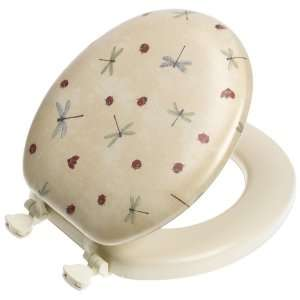 Dragonflies Toilet Seat with Easy Clean Hinges, Round, Biscuit/Linen