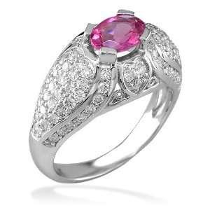 Oval pink tourmaline and diamond ring in 18K Sziro