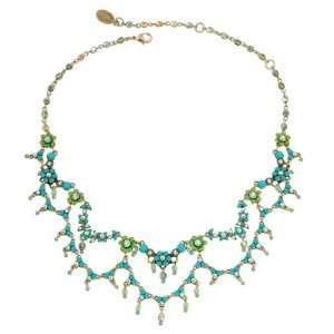 Turquoise, Green and Gold Swarovski Crystals and Dangle Beads; Vintage