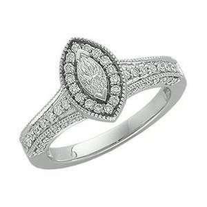 14K White Gold Diamond Bridal Engagement Ring SIZE 6