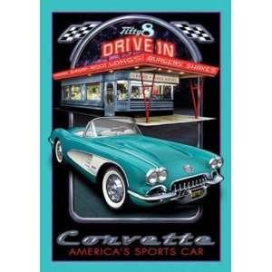 Corvette Metal Tin Sign Americas Sports Car  Kitchen