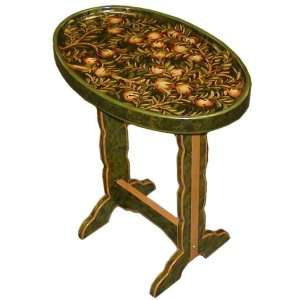 Wooden side tray table   dark green floral / fruit design
