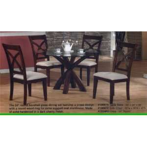 Style Dark Cherry Finish Wood Round Dining Table Base Home & Kitchen