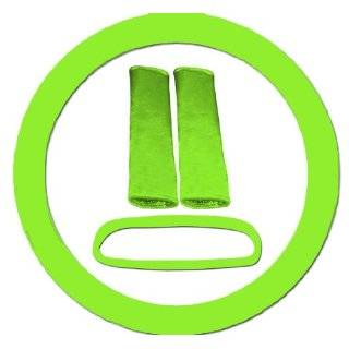 com Lime green and black zebra steering wheel cover, seat belt covers