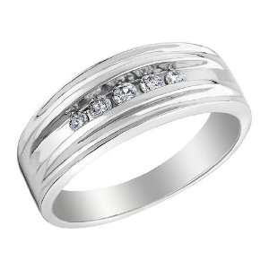 Mens Diamond Wedding Band 1/7 Carat (ctw) in 10K White Gold, Size 11.5