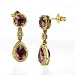 Belle Earrings, Round Red Garnet 14K Yellow Gold Earrings