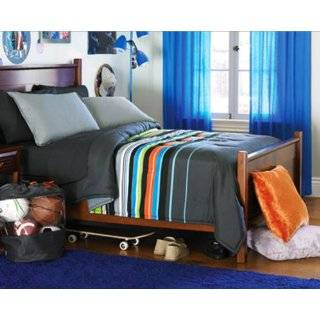 Gray, Blue & Green Boys Striped Twin Comforter Set (6 Piece Bed In A