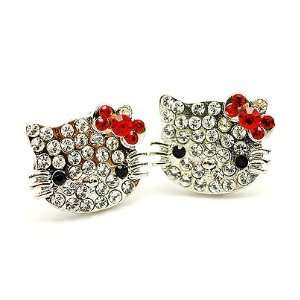 Hello Kitty Face Crystal Studs Earrings Red Ribbon