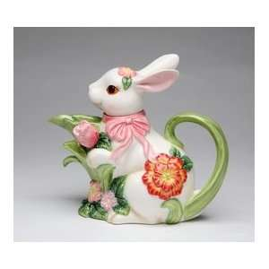 Porcelain Blossom Bunny Collectible   Bunny Teapot: Home & Kitchen