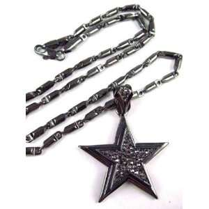 Iced Out 3D PAVE STAR Pendant w/ 24 Bullet Chain SM Black