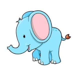 Childrens Wall Decals   Blue Elephant   12 inch Removable