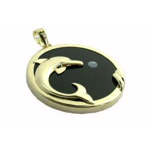 Onyx Surfacing Dolphin Pendant with White Moon, 14k Gold