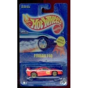 Hot Wheels 1991 69 Gold Medal Speed Red Ferrari F40 164 Scale  Toys