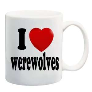 I LOVE WEREWOLVES Mug Coffee Cup 11 oz ~ Heart Werewolf