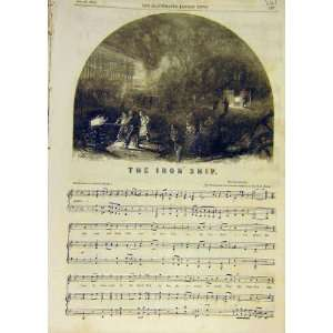 1853 Iron Ship Song Melody Music Score Old Print: Home & Kitchen