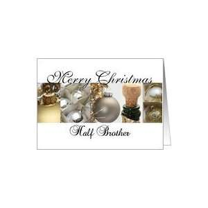 Half Brother Merry Christmas black & White & Gold collage card Card
