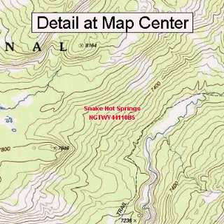 USGS Topographic Quadrangle Map   Snake Hot Springs, Wyoming (Folded