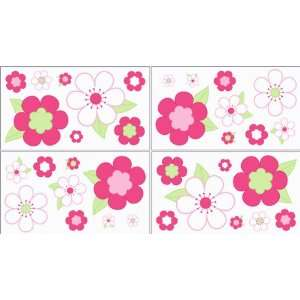 Pink and Green Flower Baby and Childrens Wall Decal Stickers   Set of