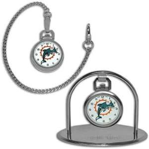 Dolphins Game Time Mens NFL Pocket Watch & Stand: Sports