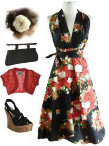 50s Style BLACK Asian Florals HALTER WRAP Sun Dress