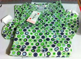 Lab coat Lab Jacket Warmup Green & Navy blue Circles on a Lt. Green BG