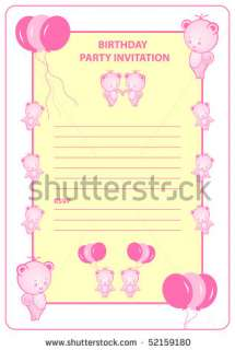 stock vector  Girls birthday party invitation card with pink cartoon