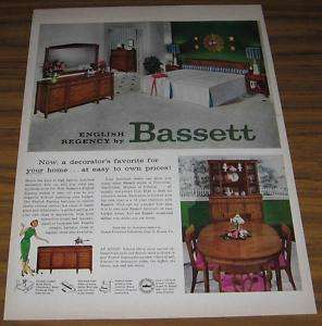 1958 AD~ENGLISH REGENCY FURNITURE BASSETT~BEDROOM,DINE