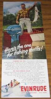 1952 AD~EVINRUDE OUTBOARD MOTORS~FISHERMAN HUGE FISH