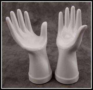 MILK WHITE GLASS MANNEQUIN JEWELRY RING DISPLAY HANDS