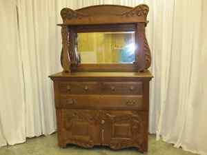 Antique Victorian Style Sideboard Buffet Bevel Mirror