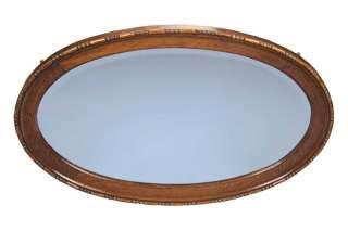 Antique Solid Oak Framed Oval Beveled Hanging Wall Mirror